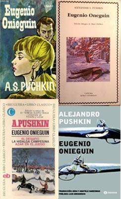 """Обложки разных изданий """"Онегина"""" на испанском языке."""