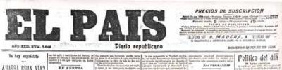 """Cabecera del """"diario republicano"""" """"El País""""."""