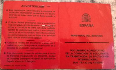"""""""Красная карточка"""" - документ просителя политического убежища в Испании"""